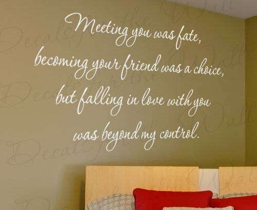Meeting You Was Fate Loving Beyond My Control - Love Bedroom Family Wedding Marriage - Quote Sticker Graphic Decoration, Art Decor, Adhesive Vinyl Saying, Wall Lettering Decal
