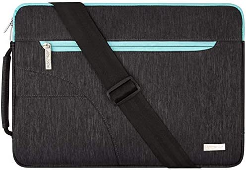 MOSISO Laptop Shoulder Bag Compatible with 13-13.3 inch MacBook Pro, MacBook Air, Notebook Computer, Protective Polyester Carrying Handbag Briefcase Sleeve Case Cover with Side Handle,Black & Hot Blue