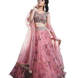 epex Women's Net Semi-stitched Lehenga Choli (Pink_Free Size)