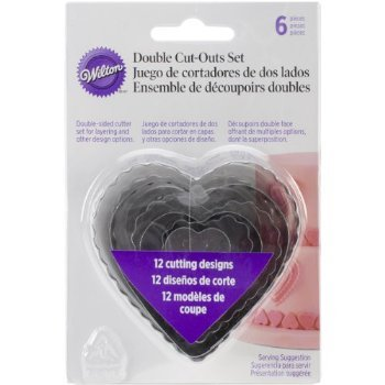 Wilton 6-Piece Nesting Fondant Double Sided Cut Out Cutters, Hearts
