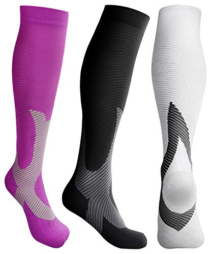 Compression Socks Men Women 20-30 mmHg Support Socks for Run, Soccer, Travel, Flight, Sports, Basketball, Recovery, 3 Pack, S/M, L/XL, XXL (3 Pack(Black, White, Pink)), XX-Large)