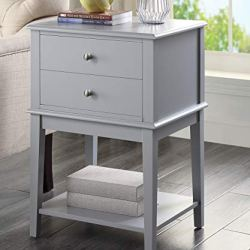 Coniffer Modern End Table Night Stand with Drawer and Storage Shelf Wood Side Table Gray and White (Grey)