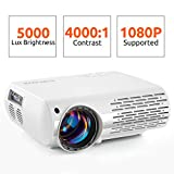 Crenova Video Projector, 5000 Lux Home Movie Projector(550 ANSI), 200'' Display HD LED Projector 1080P Supported, Work with Phone, PC, Mac, TV Stick, PS4, HDMI, USB for Home Theater[2019 Upgraded]