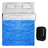 IDEALHOUSE Double Sleeping Bag, Waterproof 2 Person Sleeping Bag for Adults with Carry Bag and 2 Pillows, Perfect Sleeping Bag for Traveling,Camping,Hiking,Outdoor&Music Festivals and More-Blue