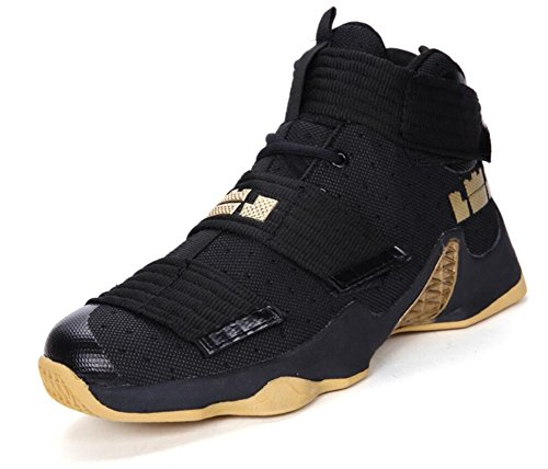 Men's Basketball Shoes For Women's Performance Sports Velcro Sneakers By JiYe,Black yellow low,Foot Length 26.5CM