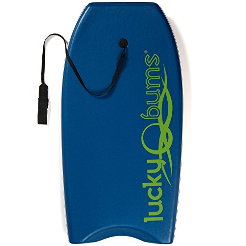 Lucky Bums Body Board with EPS Core Slick Bottom and Leash for Kids and Adults