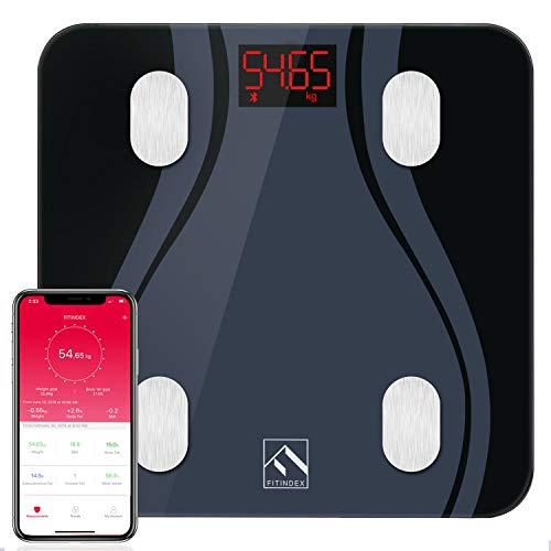 Bluetooth Body Fat Scale, FITINDEX BMI Smart Scale Bathroom Digital Weight Wireless Scale with Body Composition Monitor Analyzer Function, 13 Essential Metrics with Smartphone App - Black