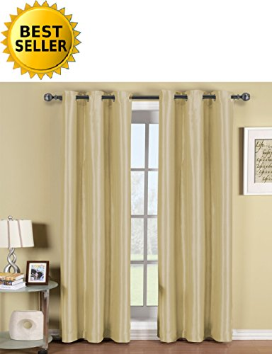"Celine Linen Triple Layer (Set of 2 Panel) - SOLID BLACKOUT GROMMET PANEL - Room Darkening, Energy Saving and Noise-Reducing - 54"" Width X 84"" Length - (Linen)"