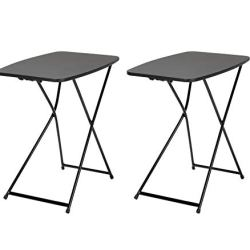 """COSCO 18"""" x 26"""" Indoor Outdoor Adjustable Height Personal Folding Tailgate Table, Black, 2 pack"""