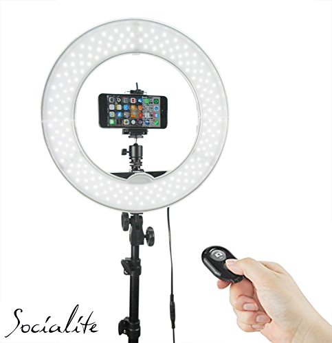 SOCIALITE 12″ LED Dimmable Photo Video Ring Light Kit – Incl Professional Social Media Photography Studio Light, 6ft Stand, Remote, Heavy Duty Mount for DSLR Camera Fits Iphone 6s Android Smartphones