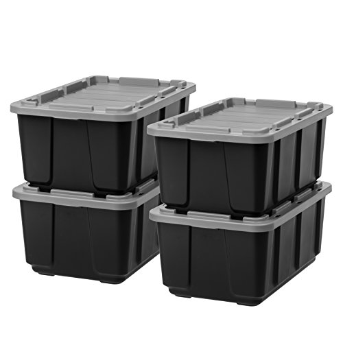 IRIS 27 Gallon Utility Tough Tote, 4 Pack, Black with Gray Lid
