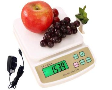 INDICUL RTB Digital Electronic Weight Machine for Home Kitchen, Shop,Weighing Scale Kitchen | Weigh Food, Fruits, Vegetables, Upto 10 KG | Small, Portable |WITH ADAPTOR White (sf -400a with adaptor)