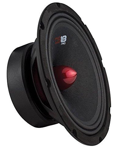 DS18 PRO-GM8B Loudspeaker - 8', Midrange, Red Aluminum Bullet, 580W Max, 190W RMS, 8 Ohms - Premium Quality Audio Door Speakers for Car or Truck Stereo Sound System (1 Speaker)