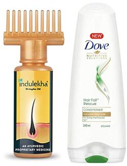 Indulekha Bhringa Hair Oil, 100ml And Dove Hair Fall Rescue Conditioner, 180ml