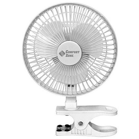 BOVADO USA 6 INCH - 2 Speed - Adjustable Tilt, Whisper Quiet Operation Clip-On-Fan with 5.5 Foot Cord and Steel Safety Grill, White - by Comfort Zone