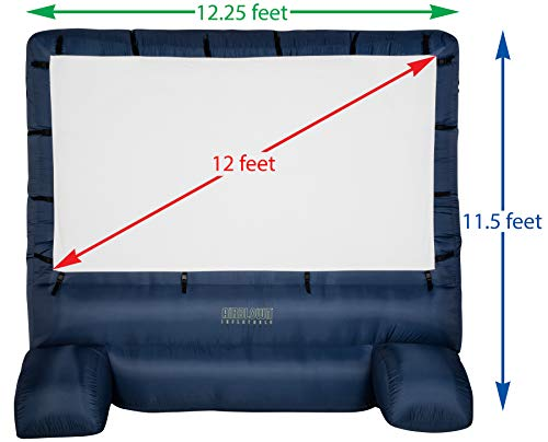 "Gemmy 39127-32 Deluxe Airblown Movie Screen Inflatable with Storage Bag, 144"" Screen 12 FT TALL x 11.5 WIDE"
