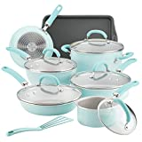 Rachael Ray 12146 13-Piece Aluminum Cookware Set, Light Blue Shimmer
