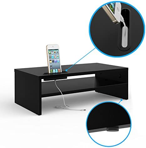Monitor Stand Riser, 2 Tiers Wood Monitor Riser Stand with Storage Organizer, Desktop Ergonomic Monitor Stand Riser with Cellphone Holder and Cable Management, 16.7 Inch Shelf, Black