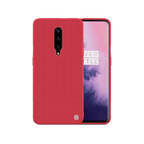 41oXt6LWJxL - Nillkin Case for One Plus OnePlus 7 (1+7) Pro Textured Series Nylon Fiber Tough & Durable PC + TPU Material Luxury Protect Red