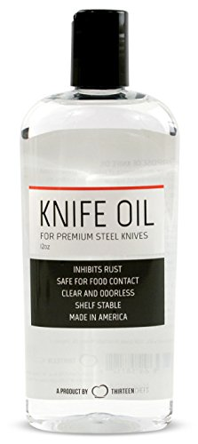 Thirteen Chefs Knife and Honing Oil 12oz - Food Safe, Protects Carbon Steel Knives, Sharpening Stone Ready, Made for Chefs