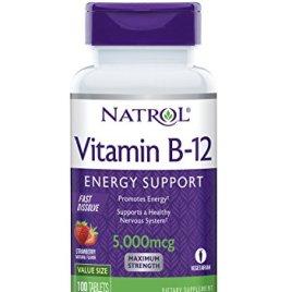 Natrol Vitamin B12 Fast Dissolve Tablets, Strawberry Flavor, 5000mcg