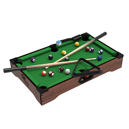Mini Tabletop Pool Set- Billiards Game Includes Game Balls, Sticks,...