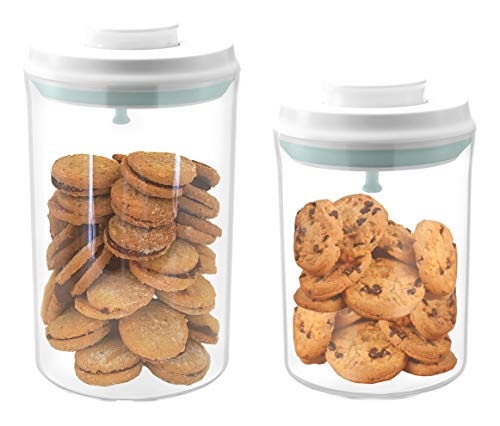 Airtight cookie jars, Kitchen storage container with lids, Plastic canister, Flour and sugar containers, set of 2 (2qt+1qt)