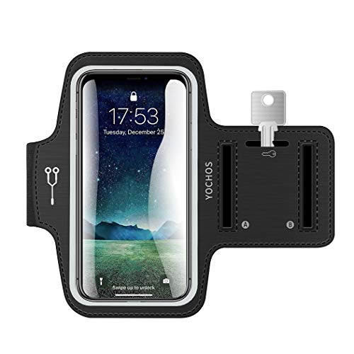 iPhone X/XR/Xs Max 8 7 6/6s Plus Armband. YOCHOS Running Armband Fits Samsung Galaxy S9 + S8/S7/S6 Edge Note 9/8 LG G6 with Adjustable Elastic Band & Key Holder【Face Recognition Access】