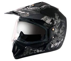 Off Road D/V Sketch Dull Black Silver Helmet-M
