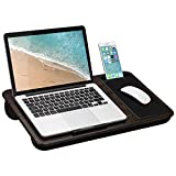 LapGear Home Office Lap Desk with Mouse pad and Phone Holder - Espresso Woodgrain - Fits up to 15.6 Inch laptops - Style No. 91575