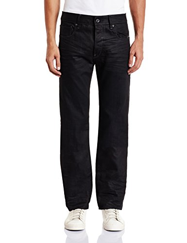 41ofXpbXuPL Dark-tone jean featuring baked-in wrinkles at hips and back of knees Embroidered back pockets, one with half-concealed zipper Zip fly with button closure