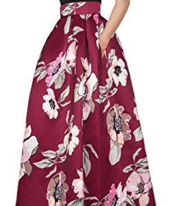 Delcoce Women's Sexy Two-Piece Floral Print Pockets Long Party Skirts Dress S-2XL 1 Fashion Online Shop gifts for her gifts for him womens full figure