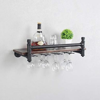 Industrial-24-Wall-Mounted-Wine-Racks-with-4-Stem-Glass-Holders-for-Wine-Glasses1-Tier-Storage-Wood-ShelfMugs-RackBottle-Glass-HolderWine-Storage-Display-RackHome-DecorRetro-BlackStyle-A