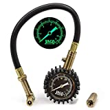 JACO BikePro Presta Tire Pressure Gauge 160 PSI - with Interchangeable Presta and Schrader Valve Air Chucks - for Hybrid & Road Bikes