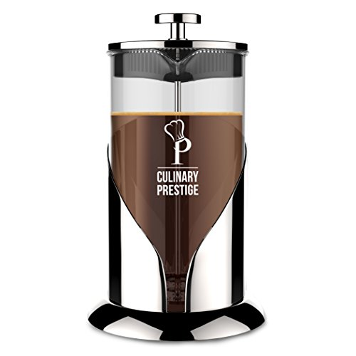 Gorgeous [8 Cup] French Press Coffee Maker & Tea Maker (34 Oz) - Best Café Press Pot with 18/8 Grade Stainless Steel & No-Shatter Borosilicate Glass - Drink the Perfect Cafetiere Cuppa Every Time!