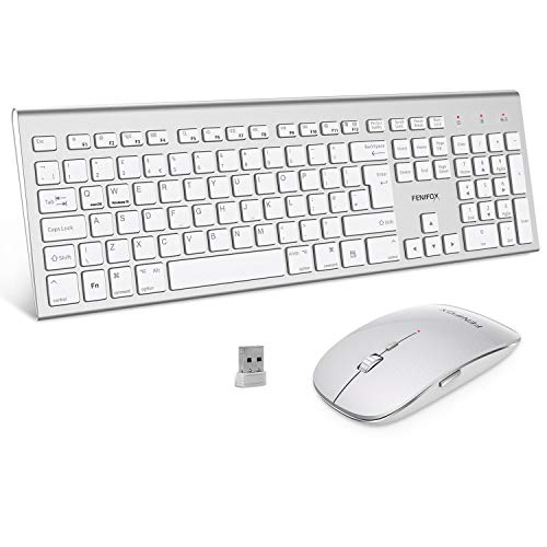 41oqLQ21fRL - FENIFOX Wireless Keyboard & Mouse, Dual System Switching Double Ergonomic 2.4G USB QWERTY Full Size UK Layout for Computer PC Mac imac Laptop Windows 10 8 7 Xp (Silver & White)