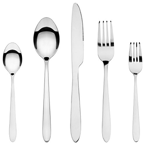 Silverware Set, HardyBlue Inexpensive Stainless Steel Flatware, Service for 4, 20 Pieces Total w/Dessert & Dinner Forks, Dishwasher Safe Utensils Which Are Lightweight Yet Very Sturdy