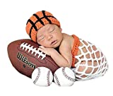 Infant Basketball Photography Props Crochet Costume Outfits Orange Hat+White Basket Outfit for 3-6 Months Newborn Baby Boy Girl