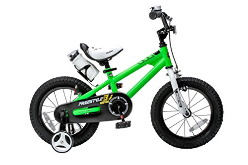 Royalbaby Freestyle Kid's Bike, 14 inch with Training Wheels, Green, Gift for Boys and Girls