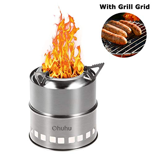 Ohuhu Camping Stove Stainless Steel Backpacking Stove Potable Wood...