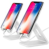 COOLOO Cell Phone Stand,【2 Pack】 Tablets Stand Desktop Cradle Holder Dock for Smartphone E-Reader, Compatible Phone Xs Max X 8 7 6 6s Plus 5 5s, Galaxy, Charging, Universal Accessories Desk (White)