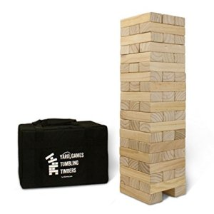 Yard Games Giant Tumbling Timbers with carrying case starts at 2.5-feet tall and builds to 5-feet 11