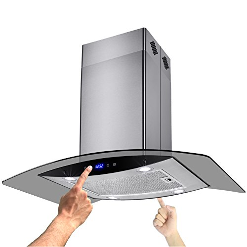 AKDY New 36' European Style Island Mount Stainless Steel Glass Range Hood Vent Touch Control