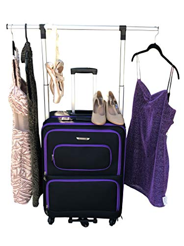 The Dance Angel Suitcase Size Medium Purple and Black'Purple Reign' (Rolling Dance Bag With Costume Rack)