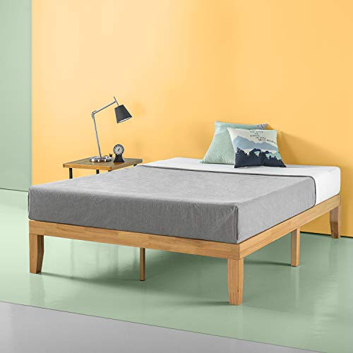 Zinus Moiz 14 Inch Wood Platform Bed / No Box Spring Needed / Wood Slat Support / Natural Finish, Full