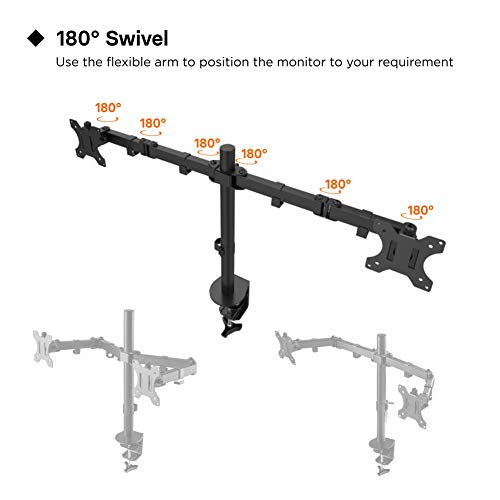"41p3hiOTLAL - 1home Double Twin Arm Desk Mount PC Computer Monitor Screen Dual Bracket Ergonomic Tilt Swivel Rotation 15""-32"" 