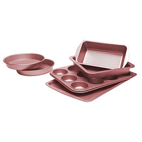 Bakeware Set, TOPTIER 6 Piece Nonstick Baking Pan Sets with Cookie Baking Sheets, Muffin Pan, Loaf Pan, Round Cake Pan, Roasting Pan for Baking | Prime Housewarming & Wedding Gift, Rose Gold