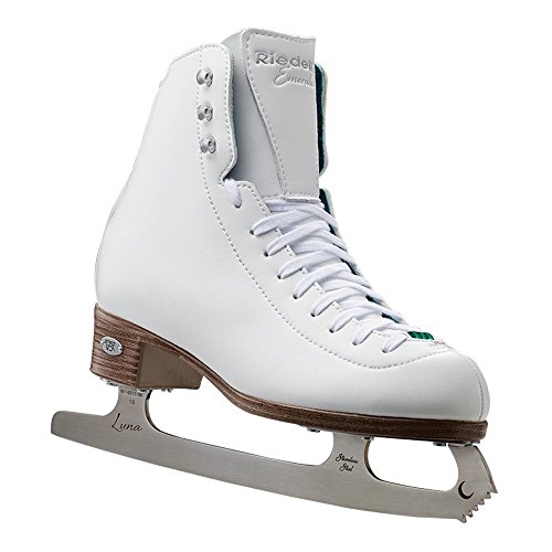 Riedell Skates - 119 Emerald - Recreational Figure Ice Skates with Steel Luna Blade | White | Size 7 1/2