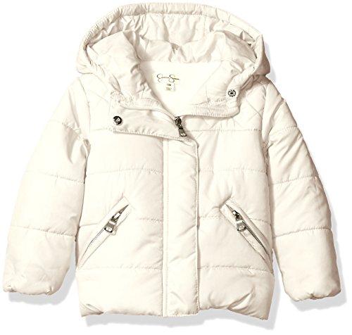 Jessica Simpson Baby Girls' Bubble Jacket with Diamond Quilt Yoke, Light Khaki, 12 Months