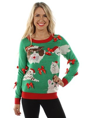 tipsy elves womens crazy cat lady sweater funny cat ugly christmas sweater - Funny Ugly Christmas Sweaters For Sale